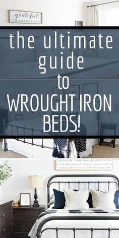 The ultimate guide to wrought iron beds! Want some inspiration, we& got it! Want to shop for afforadable metal beds? Bedding Master Bedroom, Boys Bedroom Decor, Small Room Bedroom, Guest Bedrooms, Bedroom Ideas, Condo Bedroom, Queen Bedding, Gray Bedroom, Blue Bedding