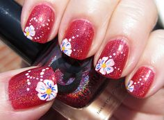 Sheer flowers on red holographic - nail art