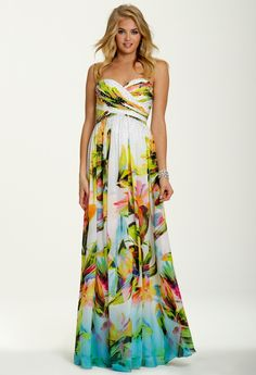 Strapless Tropical Print Dress from Camille La Vie and Group USA