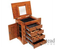 331 - FLUSH MISSION DRESSER TOP JEWELRY CABINET