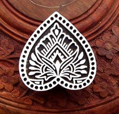 Heart Shape Hand Carved Wood Stamp Indian by PrintBlockStamps, $13.95