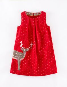 Mini Boden red cord reindeer pinafore dress