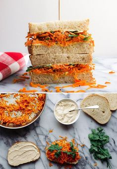 Spicy Carrot and Hummus Sandwich