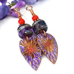 Purple Red Flower Earrings, Boho Copper Floral Lampwork Coral Jewelry | Shadow Dog Designs