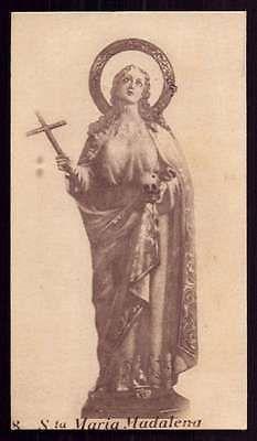 ST-MARY-MAGDALENE-w-SKULL-CROSS-Vtg-1953-HOLY-CARD
