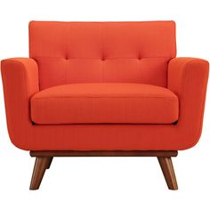 Dot & Bo Spiers Armchair in Tangerine ($492) ❤ liked on Polyvore featuring home, furniture, chairs, accent chairs, tufted chair, tufted arm chair, tufted armchair, orange chair and tufted lounge
