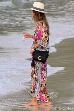 What she wore:   Dress: Tory Burch 'Catarina' Caftan Cover Up Maxi Dress   Bag: Ralph Lauren Stirrup Cross-Body Bag   Jessica Alba at the beach in St. Barts - April 3, 2013