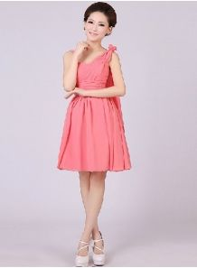 ADNA - A-line Knee length Chiffon One shoulder Chinese Cheap Wedding Party Dress