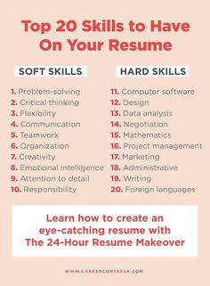 Walk away with a professional resume that sells you and your uniqueness to any hiring manager. | Career Contessa Resume Skills List, Resume Advice, Resume Writing Tips, List Of Skills, Resume Help, Resume Ideas, Business Writing Skills, Resume Tips No Experience, Build A Resume