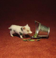 Dollhouse Miniature Handmade Sculpture 1:12 Mini Pig and bucket OOAK