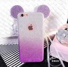 3D Minnie Mickey Mouse Ears silicone Glitter Gradient Case for iPhone 4 4S 5 5S 6 6S 7 Plus Case Cover phone cases #Iphone4Cases #phonecase