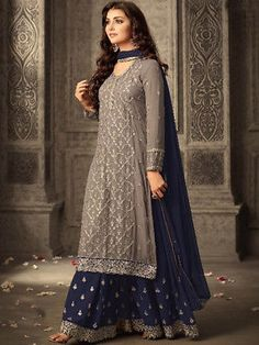 Shop Grey and Purple Georgette Sharara Suit Online @ YOYO Fashion. Explore the Latest EID Dresses. Amazing EID Dresses, Suits, Sarees and Lehengas at Best Prices. Sharara Designs, Kurti Designs Party Wear, Dress Designs, Eid Dresses, Fashion Dresses, Cotton Dresses, Fashion Clothes, Mode Bollywood, Indian Outfits