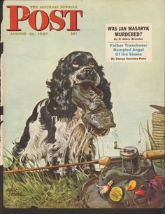 AUG 21 1948 SATURDAY EVENING POST magazine cover print - DOG - SHOE - FISHING