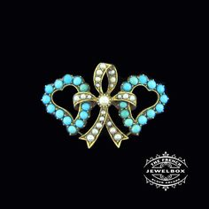 Twin heart and bow Edwardian brooch set with turquoise and seed pearls. The French Jewel Box - Google+