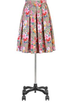 Tropical rose cotton skirt