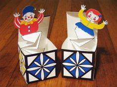 Jack in the Box Pop Up Printable DIY file Toy Crafts - Nägel Inspiration Diy Toy Box, Diy Toy Storage, Craft Box, Diy Box, Toy Boxes, Craft Ideas, Paper Toys, Paper Crafts, Jack In The Box