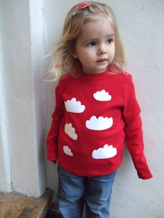 Childrens T shirt  Clouds Print Sizes up to 7 years par littlechook, £15.00