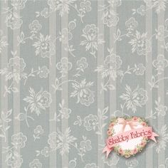 """English Diary 7249-RB By Renee Nanneman For Andover: English Diary is a collection by Renee Nanneman for Andover.  100% cotton.  43/44"""" wide.  This fabric features a cream flower tossed on a blue stripe."""