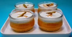 Flanes de zanahoria, crema de queso y ajetes