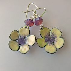 Flower Earrings, Yellow and Purple Earrings, Enamel Jewelry, Summer Beach Jewelry. $33.00, via Etsy.