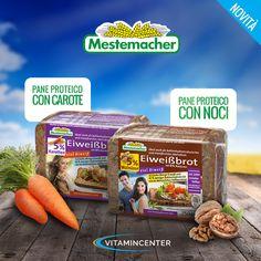 NEW ENTRY #MESTEMACHER - Da oggi disponibile su www.vitamincenter.it il PANE PROTEICO con NOCI e con CAROTE. Noi li adoriamo entrambi, voi quale preferite?