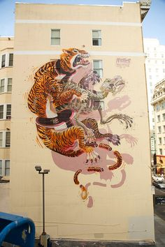 """""""Eye of the Tiger"""" mural by Austrian artist Nychos at Geary and Taylor in SF. Done in conjunction with @Linda Ziewacz Playground and @Wallspace La sf."""