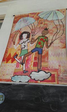 gigantografia montada en tela plastica a partir de una produccion colectiva donde todos los niños aportaban a las figuras y el fondo.