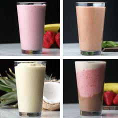 Dairy-Free milkshakes 4 ways dairy free milkshake, milkshake recipes, dairy Healthy Smoothies, Healthy Drinks, Nutrition Drinks, Healthy Protein, Fruit Smoothies, Dairy Free Milkshake, Easy Milkshake Recipe, Dairy Free Smoothie, Healthy Milkshake