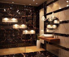 Artistic Bathroom With Texture Bathroom Sink Design, Bathroom Design Luxury, Modern Bedroom Design, Modern Bathroom, Interior Design Inspiration, Home Interior Design, Marble Countertops Bathroom, Toilet Tiles, Home Decor Boxes
