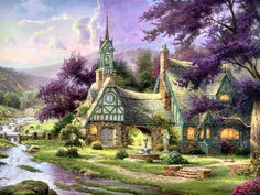Clocktower Cottage by Thomas Kinkade...I own this oil painting. Absolutely love it. Only 1400 made.