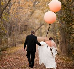 fall wedding with coral balloons