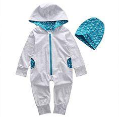 cd98e1c9da038 Amazon.com  Baby Boys Girls Long Sleeve Zipper Hoodie Romper With Hat (100  (12-18M)