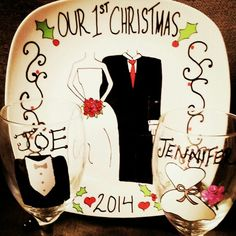 """Personalized ceramic plates """"our 1st christmas plate and bride and groom wine glass set"""" Can personalize plates, mugs, wine glasses, bowls, ornaments etc! Check out my fb page michelle's Personalized creations or my instagram michellespersonalizedcreations With more of my work! Plates are $27.99 free shipping anywhere in us! ☺ Christmas Plates, 1st Christmas, Personalized Plates, Wine Glass Set, Fb Page, My Fb, Ceramic Plates, Bowls, Groom"""