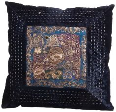 Ian Snow Jewel Embroidery Cushion, Navy Blue