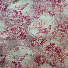 Bird Toile Cotton Fabric Metre Yenter/In The Beginning Red/Pink/Cream Floral 1m