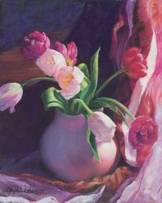 Tulips in a Pink VaseOriginal Pastel Painting by ARTEQUALSJOY