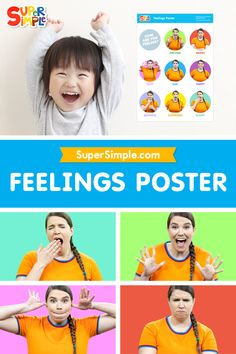 Get our free printable Feelings Poster for your classroom or homeschool, featuring Super Simple Caitie of Caitie's Classroom of course.
