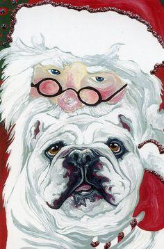 Artist Christmas Dog English Bulldog PostcardsC by carlascreatures