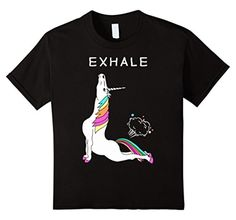 Kids Exhale Yoga T-shirt Unicorn With Rainbow 6 Black -- Awesome products selected by Anna Churchill