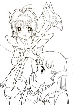 The Cardcaptor Museum Blank Coloring Pages, Coloring Pages For Girls, Coloring Books, Adult Coloring, Cardcaptor Sakura, Sakura Card Captor, Anime Chibi, Manga Anime, Anime Mermaid