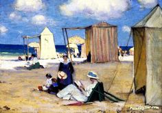 The Beach At Dinard Artwork By Clarence Gagnon Oil Painting & Art Prints On Canvas For Sale Stretched Canvas Prints, Canvas Art Prints, Canvas Wall Art, Canadian Painters, Canadian Artists, Clarence Gagnon, Collages, Montreal Museums, Art Prints For Sale