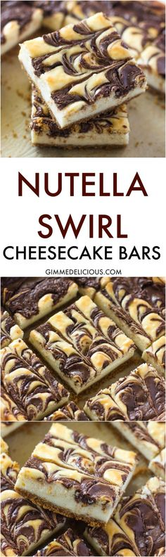 Nutella Swirl Cheesecake Bars Smooth and creamy Cheesecake bars on a buttery graham cracker crust with swirls of Nutella. If youre a nutella fan your going to love these Brownie Cheesecake, Cheesecake Recipes, Dessert Recipes, Cake Brownies, Chocolate Cheesecake, Drink Recipes, Christmas Sweets Recipes, Christmas Baking, Christmas Ideas