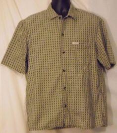 Guess Jeans USA Short Sleeve Multi Color Checked Cotton Button Front Shirt Sz M #GUESS #ButtonFront