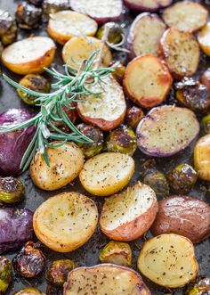 Rosemary Balsamic Baby Potatoes and Brussels Sprouts