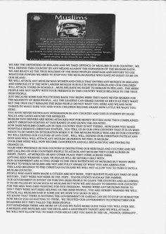 Kelompok Kristen radikal ancam lakukan serangan pada umat Islam di Irlandia - MUKMINUN.COM http://www.mukminun.com/2013/11/Kelompok-Kristen-radikal-ancam-lakukan-serangan-pada-umat-Islam-di-Irlandia.html