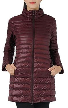 MSW Womens Fashion Winter Packable Ultra Long Sleeve Puffer Down Coats Wine Red XS -- Click image to review more details. (This is an affiliate link)