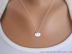 Customized Sterling Silver 1/4 Disc Necklace  by morganprather, $30.00
