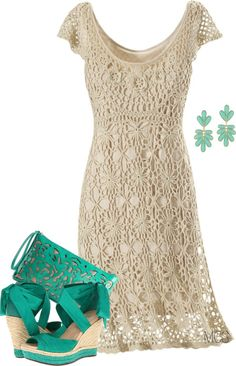 "Nice crochet lace dress with aqua details!! ""Just 4"" by mclaires on Polyvore"