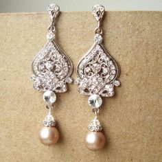 Champagne Bridal Wedding Earrings, Silver Filigree Chandelier Bridal…