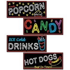 The Neon Food Sign Cutouts are made of paper board stock and include 4 to a package. Each cutout is 21 inches.